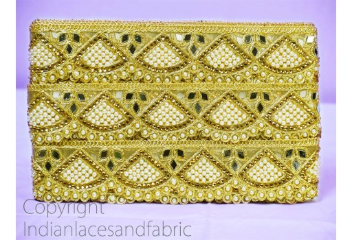 9 Yard Wholesale Gold Kundan Indian Laces decorative Trim cushions table cover  accessories Border Gold Gota Patti Embellishment Ribbon Crafting Sewing Trimmings Metallic traditional Kundan Stone work on laces