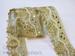 Metallic Ribbon Trimming Embellished Mirror work Saree Border