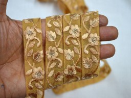 Beige Embroidered designer Trims on Beige net Fabric