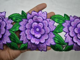Purple beautiful designer trim by 2 yard decorative embroidered costume fashion tape trimmings stunning embellishments for festive mood dresses border