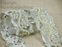 traditional Silver kundan decorative trim by the yard metallic embellishments ribbon beautiful stylish embroidery border faux pearls work laces steps for decorated hand bags