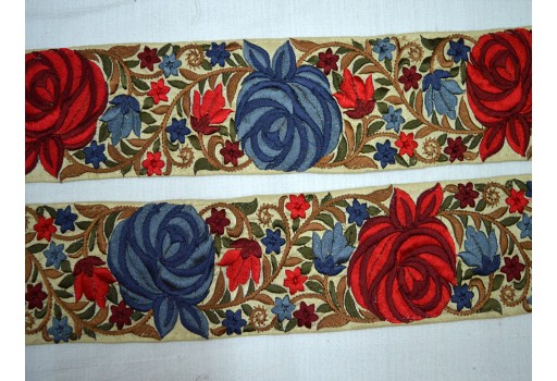 Crafing ribbon trims maroon embroidered designer trim by the yard beautiful floral pattern lace costume fashion tape trimmings for wedding wears and dresses border