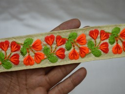 Red Embroidered Fabric trims and embellishments Sewing