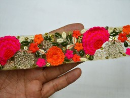 Crafting Ribbon Embroidered Saree Fabric Trim