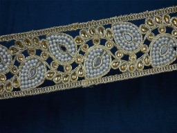 Gold Kundan Lace Indian Laces Saree Border