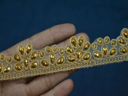 Gold Kundan Trim Decorative Costume Embellishment Border