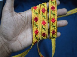 Yellow Silk Embroidered Ribbon Sewing Fabric Trim