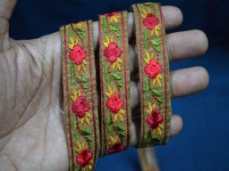 Brown Silk Embroidered Ribbon Fashion tape trim