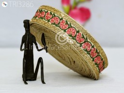 Coral Red Fabric Embroidered Trim