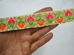 Magenta embroidered designer trims on beige pure dupioni silk fabric trim by 2 yard fashion blogger ribbon embroidered costumes embellishments for making waist belt