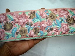Costume fashion tape embroidered designer trim by the yard beautiful designing stylish blouse embellishments crafting sewing peachy pink silk fabric for easy stitching