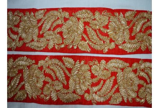 Indian gold finish gota wide trim by the yard costume fashion tape lace decorative beautiful stylish border wedding dresses embellishments for designing bohemian bags