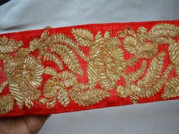 Indian Laces Gold finish Gota Trim Sari border