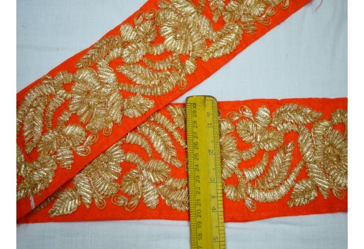 Decorated sari border gold finish gota patti laces embellishment decorative crafting indian trims by the yard traditional costume crafting ribbon for ethnic wears