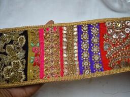 Gold Embroidered designer Trim on net