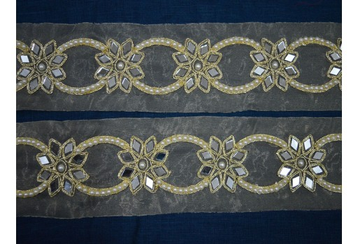 Gold kundan laces decorative metallic ribbon embellishment white stone work trim by 2 yard crazy quilting home decor lace embellishments new unique design for kids wears