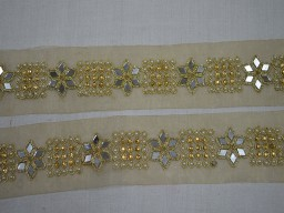Gold kundan metallic ribbon traditional stone work trim by 2 yard beautiful stunning home decor embellishments sewing costume machine stitched border for table runner