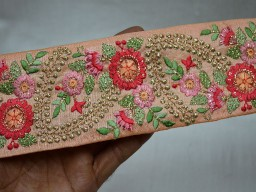 Beige and Gold Embroidered designer Fabric Trims on Peach silk fabric