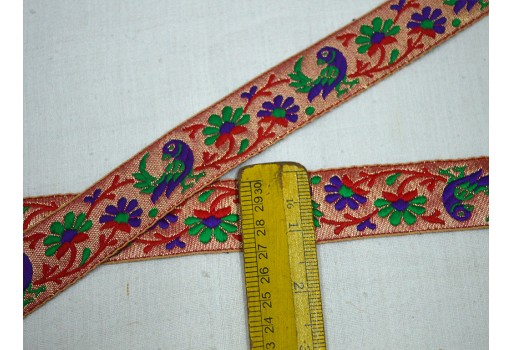 Wholesale Red Saree Decorative Ribbon Jacquard Trim By 9 Yard Metallic Trim Brocade Crafting Ribbon Trimmings Indian Jacquard Sari Border