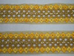 2.5 Inch wide Wholesale Yellow Indian Laces and Trim By 9 yard Ribbon Costume Trim Saree Border Metallic Ribbon Beaded Trim Gold Lace Crafting Sari Border traditional Kundan Stone or Glass stone work on laces