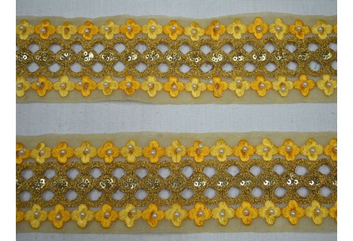 Decorative trim by the yard beautiful stunning laces traditional embellishments metallic beaded gold kundan border embroidery border for making waits belt