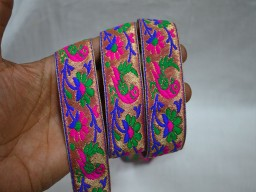 1.2 Inch wide Wholesale Craft Ribbon Saree Decorative Ribbon Jacquard Trim By 9 Yard Metallic Trim Brocade Trimmings Indian Jacquard Sewing Sari Border