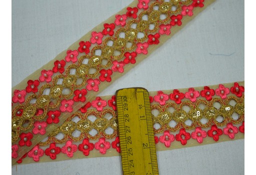 Decorative traditional trim by the yard beautiful stunning ribbon red and gold lace with pearls work embroidery machine stitched border for holiday decoration