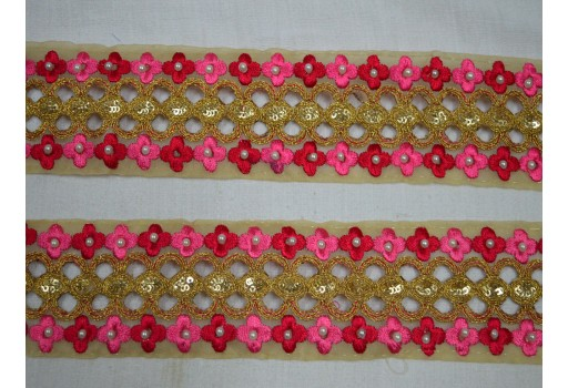 Costume metallic beaded trim by the yard traditional kundan stone work laces embellishments machine stitched embroidery border for jewellery making