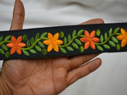 Beautiful stunning embroidery trim by the yard indian embroidered fabric border scrap booking crazy quilting ribbon decorative home decor embellishment crafting sewing trimmings
