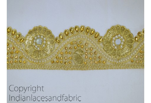Metallic Gota Ribbon Gold Kundan Lace