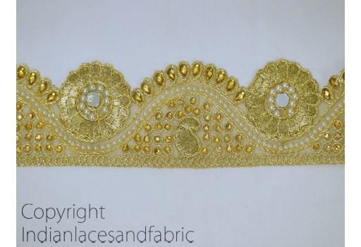 Metallic Gota Ribbon Gold Kundan Lace