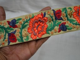 2.7 Inch wide Wholesale Orange Indian Lace Crafting Sari Border Embroidered Sewing Fabric Trim By 9 Yard Costume Decorative Crafting Ribbon Trims Trimming Grayish Blue Red Peach Orange and Gold Fashion tape trim