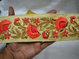 Beige Embroidered Decorative Trim Indian Laces for Designing Sari Border