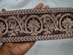 Maroon Color and Dull Gold Embroidered designer Fabric Trims on Maroon Color Velvet fabric