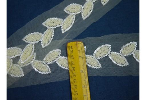 Ivory Indian Laces Beaded Wedding Dress tapes ribbon Bridal Belt Sashes Decorative Crafting Sewing Sari Border