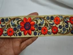 Orange Sari Border Indian Embroidered Saree Crafing Ribbon Trimmings Fabric Trim