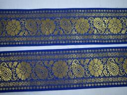 Navy Blue Decorative Trim Brocade Jacquard Ribbon Trimmings Gold Metallic Trim