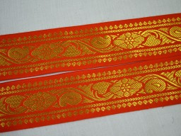 Home decor orange indian decorative tape brocade jacquard sewing trim by yard clothing accessories holiday crafting  gold metallic ribbon embellishments brocade lace christmas trimmings