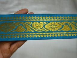 Turquoise Blue Decorative Trim Brocade Jacquard Ribbon Trimmings Gold Metallic Woven