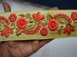 Beautiful stunning decorative embellishments crafting ribbon embroidered designer laces beige silk fabric indian sari border clothing accessories home decor trim by the yard stylish lehenga online tape