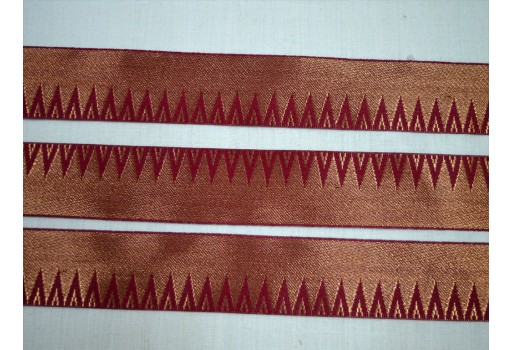 1.8 Inch wide Wholesale Burgundy Sari Border Jacquard Sewing Trimming Indian Lace Jacquard Saree Border Jacquard Trim By 9 Yard Decorative Crafting Ribbon