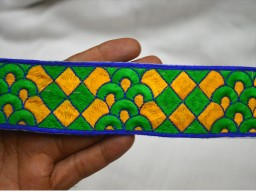 Embroidery border garments accessories ethnic wear embellishments  sewing costume tape home decor trim by  yard boutique metarial indian embroidered ribbon Yellow Decorative Crafting fabric trimmings
