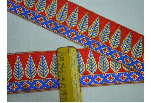 Blue and Gold Weaving Border Lace Trim Decorative Craft Ribbon