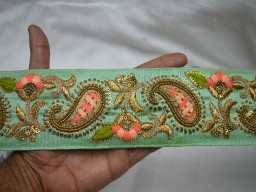Beautiful embroidered Pistachio Green Decorative clothing accessories  Trim By The Yard Indian Saree wedding dresses  Border festive wear tape Crafting Ribbon Sewing Fashion  sequins work trimming