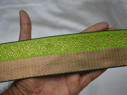 Green and Gold Jacquard Ribbon Sari Border