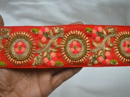 "2.5"" Wholesale Red Pure Dupioni Silk Fabric Embroidered Round Design Lace Christmas Supplies Costume Fashion Decorative Trim By 9 Yard Designing Stylish Blouse Border Crafting Multi Purpose Ribbon"