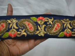 2.5 Inch Wide Wholesale Navy Blue Embroidered Christmas Supplies Trim By 9 Yard Embroidered Indian Decorative Sari Border Craft Ribbon Paisley Trimming Sewing Costume Fashion Lace Home Decor For Clutches