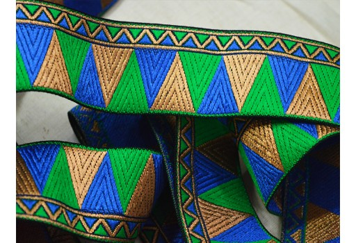 Metallic gold weaving silk sari border royal blue jacquard trim by 4 yard beautiful stunning festive mood ribbon costume sewing designer brocade trimming for dresses