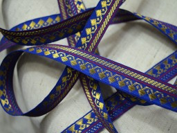 Wholesale navy blue jacquard trims decorative gold trim silk saree border brocade design traditional metallic thread sew ribbon by 9 yards