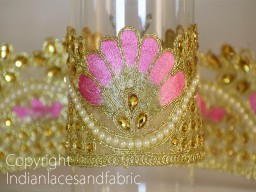 Gold and Pink Kundan Lace with Glass Bead Work